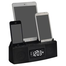 3 Port Universal Charging Station & Clock Radio in Black