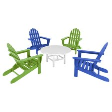 Polywood Classic 5 Piece Adirondack Seating Group in Blue & Lime