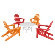 Polywood Classic 5 Piece Adirondack Seating Group in Red & Tangerine