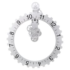 Big Wheel Hour Clock in White