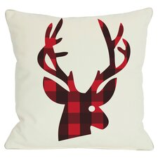 Holiday Plaid Reindeer Throw Pillow in White