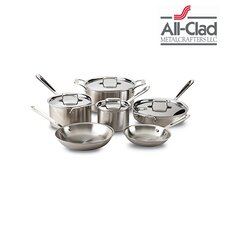 Brushed Stainless Steel 10 Piece Cookware Set