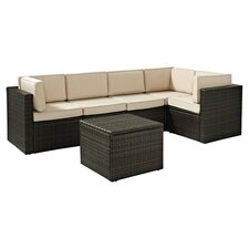 Bayside 6 Piece Seating Group in Brown with Cream Cushions