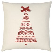 Nordic Holiday Kirsten's Tree Throw Pillow in Red & White