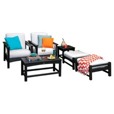 Club 6 Piece Deep Seating Group in Black with White Cushions