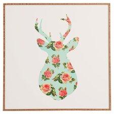 Floral Deer Silhouette Framed Print Art by Allyson Johnson