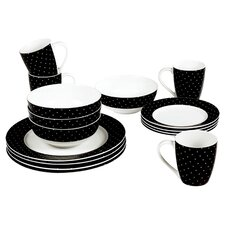 Twinkle 16 Piece Porcelain Dinner Set in Black
