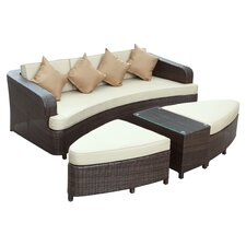 Monterey 4 Piece Seating Group in Brown with Beige Cushions
