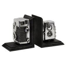 Vintage Camera Book Ends in Black