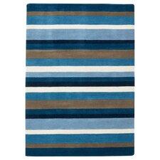 Jazz Blue & White Striped Loomed Rug