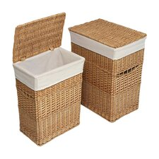 2 Piece Wicker Hamper Set (Set of 2)