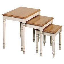 Country 3 Piece Nesting Table Set in Buttermilk & Oak