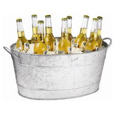 Galvanized Steel Oval Beverage Tub in Silver