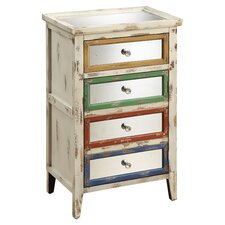 4 Drawer Chest in Distressed Ivory