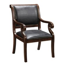 Leather Arm Chair in Textured Brown & Black