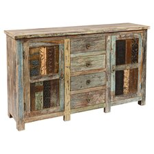 Vintage Print Block Buffet I in Lime Wash