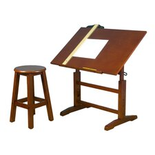 Drafting Table & Stool Set in Oak