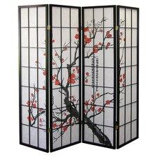 Plum Blossom 4 Panel Room Divider in Black & White