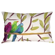 Flocked Together Birds Pillow in White