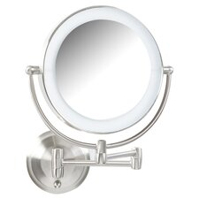 Lighted Magnifying Wall Mirror in Satin Nickel