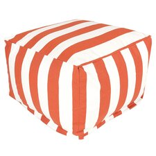 Striped Pouf Ottoman in Burnt Orange
