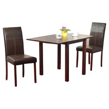 Bettega Drop Leaf 3 Piece Dining Set in Espresso