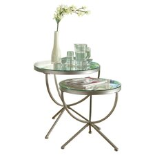 Curved 2 Piece Nesting Table Set in Silver