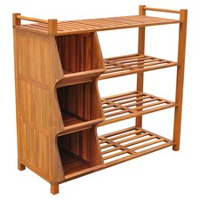Shoe Rack & Cubby in Brown