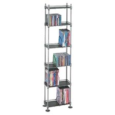 Adjustable Multimedia Storage Rack in Silver