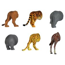 6-Piece Safari Animal Butt Magnet Set
