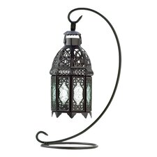 Midnight Clear Glass Table Lantern in Black