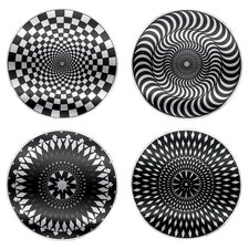 4 Piece Moire Coaster Set in Black & White