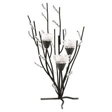 Frosted Branches Candle Holder in Black