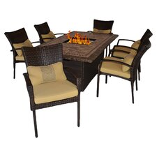 SouthBeach 7 Piece Seating Fire Pit Dining Set in Brown with Tan Cushions
