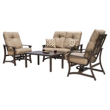 Villa 4 Piece Deep Seating Group in Kona with Sesame Cushions