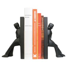 Kikkerland Leaning Men Bookend in Black
