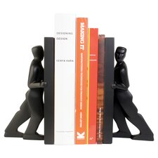 Kikkerland Pushing Men Bookend in Black