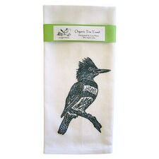 Organic Kingfisher Tea Towel in Blue & White