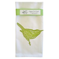 Organic Wren Tea Towel in White