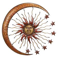 Urban Trends Metal Sun & Moon Wall Décor in Brown
