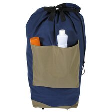 Rolling Laundry Bag in Navy & Taupe