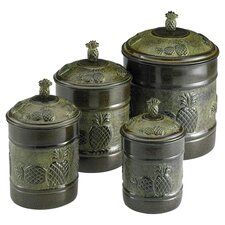 Pina Fresh 4 Piece Canister Set in Green