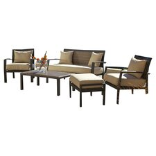 Zen 5 Piece Seating Group in Black with Cushions