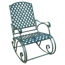 Iron Diamond Lattice Rocking Chair in Green