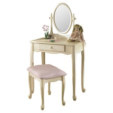 Athens Vanity & Stool Set in Off White