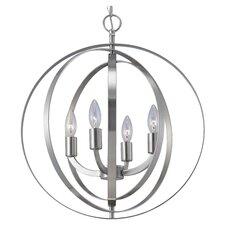 Meridian 4 Light Globe Chandelier in Brushed Nickel