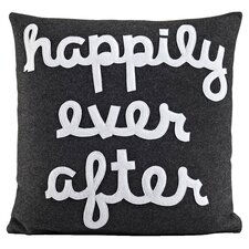 Happily Ever After Throw Pillow in Charcoal & White