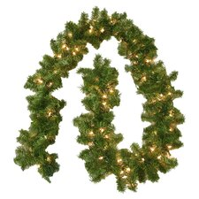 Pre-Lit Clear 9' Evergreen Branch Garland