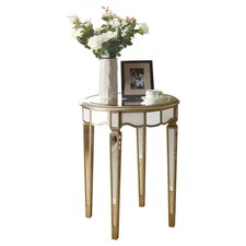 Mirrored Scallop End Table in Metallic