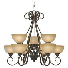 Beck 9 Light Chandelier in Pepper